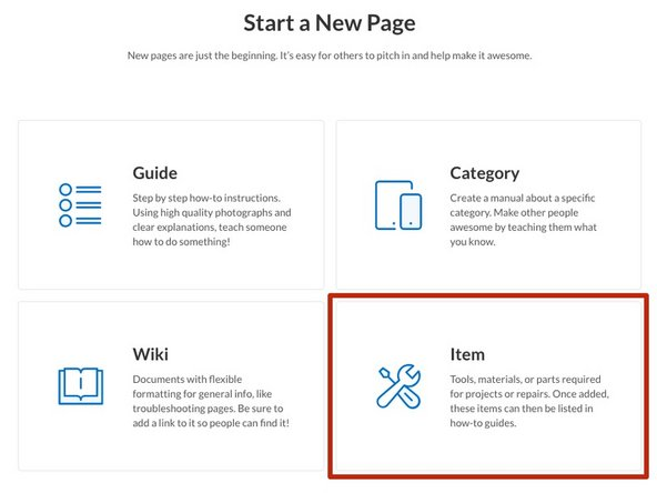 Start a new page. Select Item.