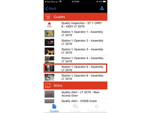 View the guide you want to save for offline viewing on the Dozuki iOS app.