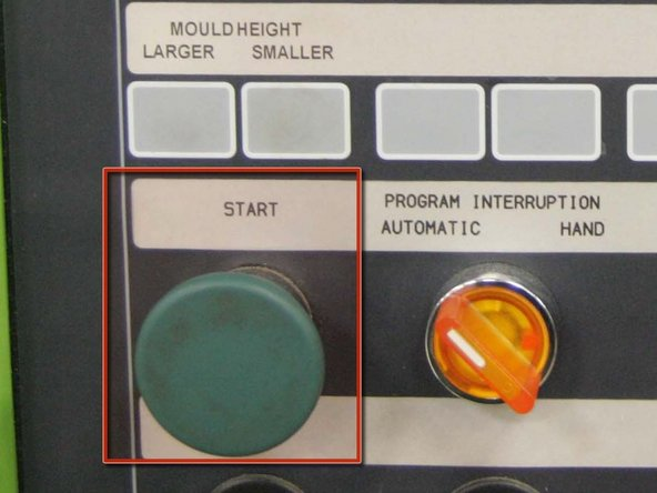 """Depress the green """"Start"""" button to initiate cycling of the machine."""
