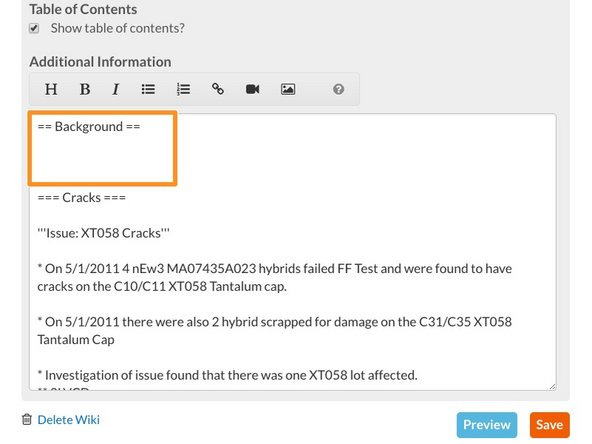 Place your cursor in the Additional Information text field where you would like to insert your embed.