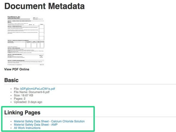 The Document Metadata page provides details about a specific document, such as a list of where the document is used, and lets you easily replace the document with a more updated version.