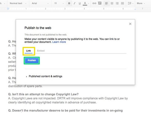 Select Publish to the Web from the drop-down menu.