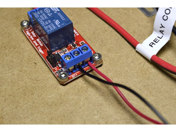 Plug the 2 pin connector to the Z+ pins on the CNC shield with the red cable closest to the stepper drivers as shown