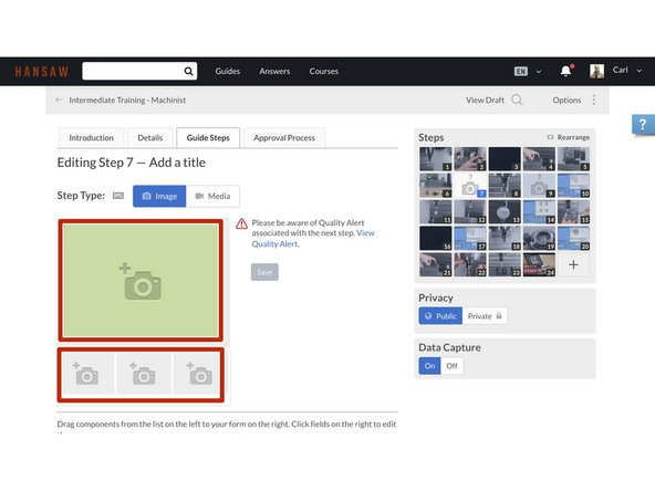 Click on the main Media Manager placeholder or click on one of the thumbnail placeholders beneath the main placeholder.