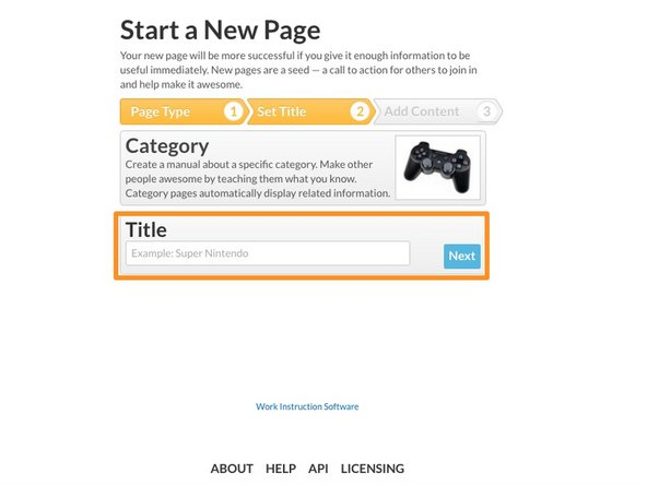 Enter the Title for your new category page.