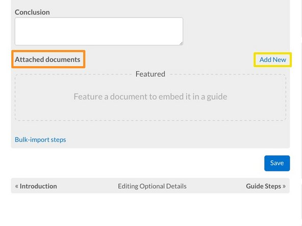 Scroll down to the bottom of the Detail tab page to the Attached Documents section.