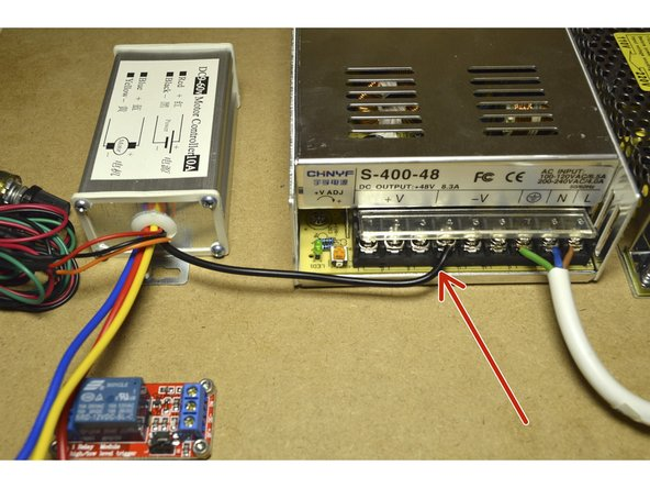 Connect the black cable of the Speed Controller to the V- port on the 400W power supply