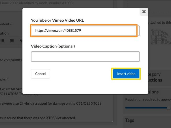 Type or paste in the link to your video in the field provided in the prompt window.