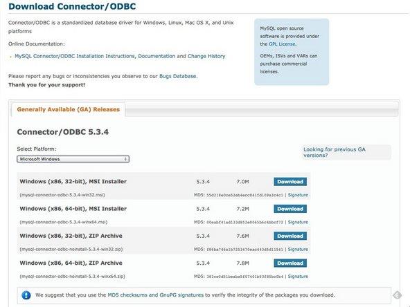 Download the proper ODBC driver from MySQL.