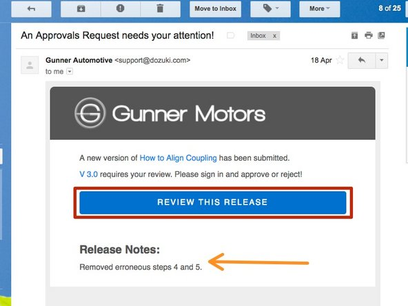 When you receive your email request, click on the Review this Release button to open the version of the guide needing your review.