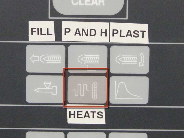 "Push the ""Heats"" button on the control panel to observe the actual cylinder temperatures as compared to the set points.  Allow a minimum of 30 minutes for temperatures to stabilize at the set point prior to performing any movement to the screw."