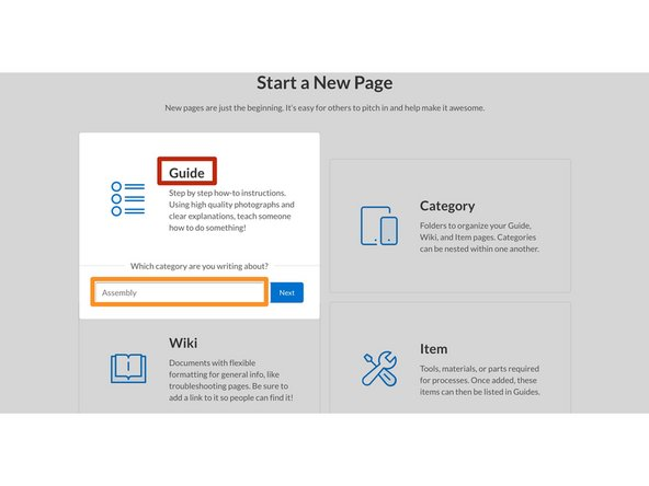 Click on the Guide icon in the Start a New Page options.
