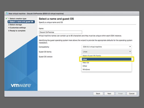 For Compatibilty, select ESXi 6.5 virtual machine from the dropdown