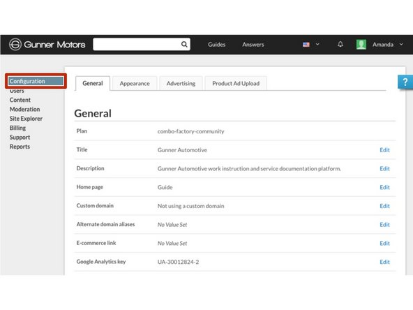Navigate to your site's management console and select Configuration from the menu on the left side of the page.