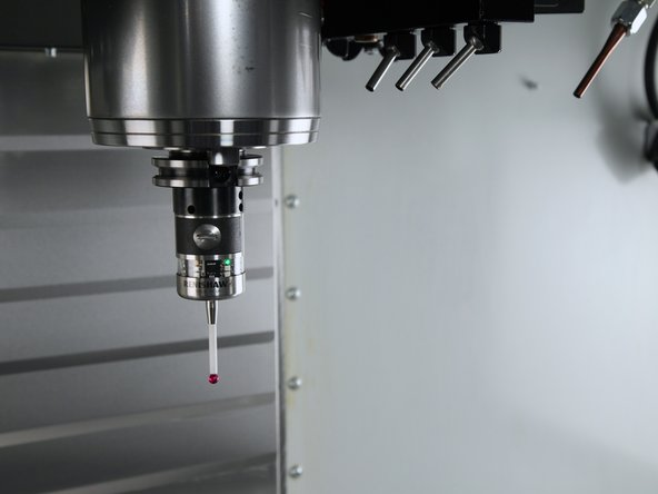 First, verify that the probe system and connections to the machine are functioning correctly.