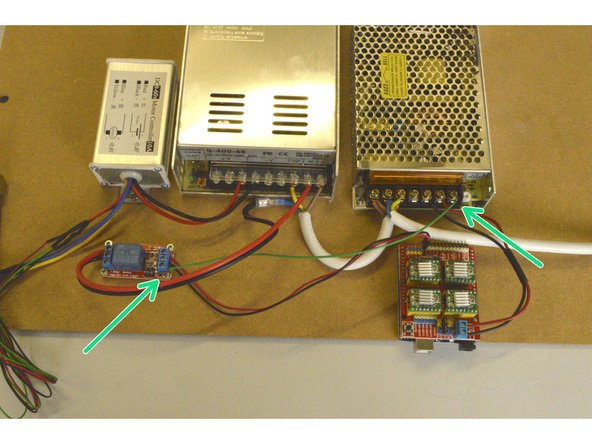 Connect the Relay Power Cable to the DC+ port on the Relay and to the +V port on the 100W Power supply
