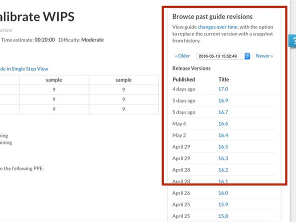 The new version of the guide will be shown in Past Guide Revisions under the History tab.