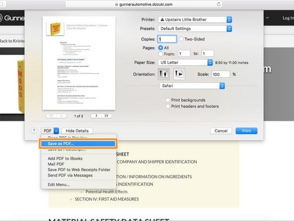 """On Safari click """"PDF"""" then """"Save as PDF"""""""