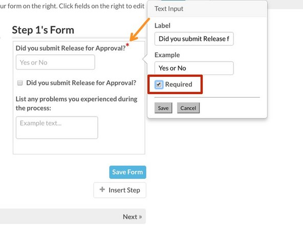 To set a component as required, check the box labeled Required on the component popup.
