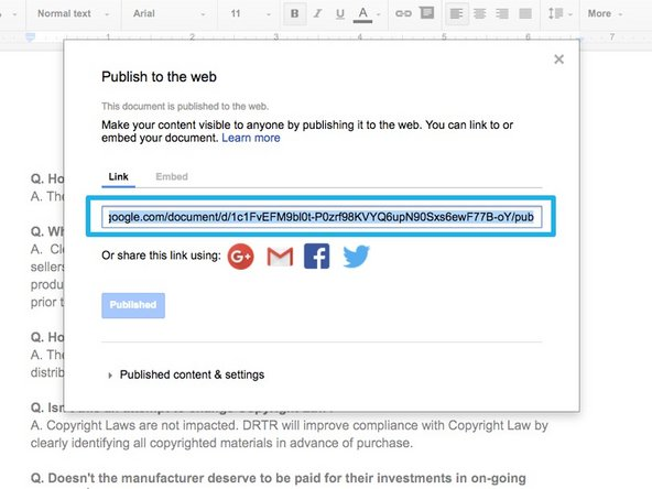 Select Link to generate the embed link.