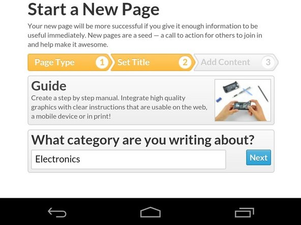 Choose the category that you would like the guide to be published in.