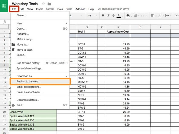 Open the Google Spreadsheet and click  File.