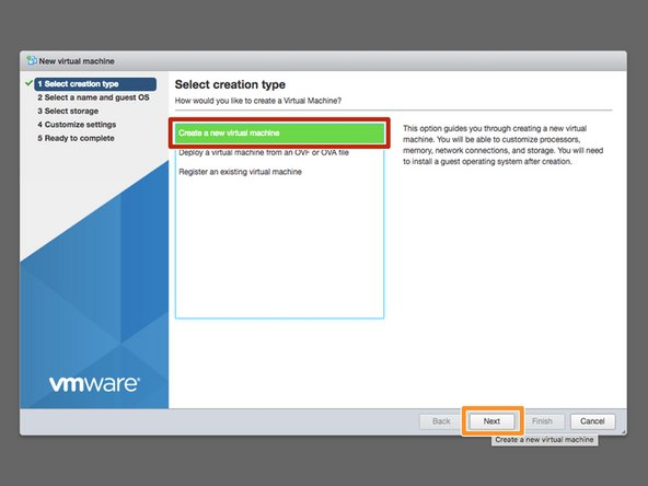 Once the dialogue opens, select the Create a new virtual machine