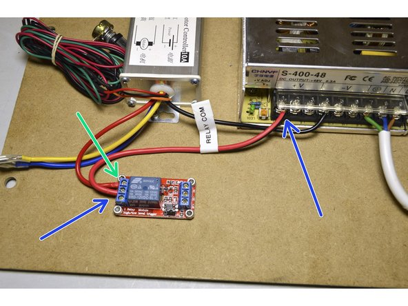 Connect the Red cable of the speed controller to the NO port on the Relay