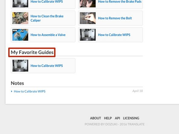 Your favorited guides will be listed under the section My Favorite Guides.