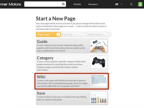 Start a new page. Select Wiki.
