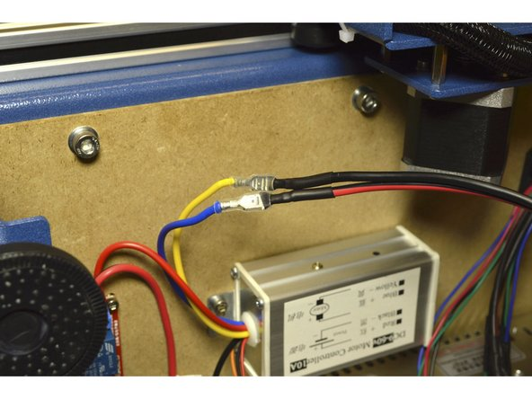 Connect the spindle cable to the Blue and Yellow wires on the Spindle speed controller.