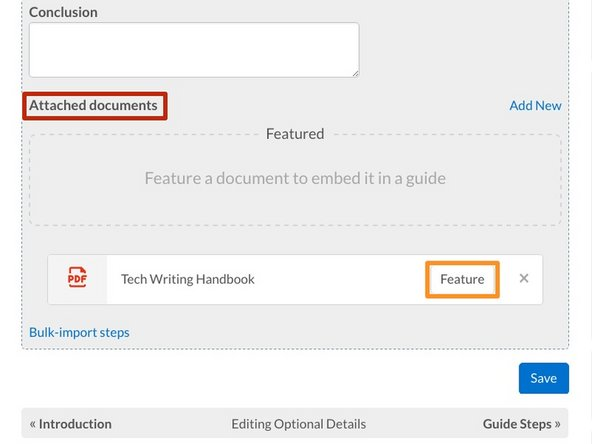 Edit the guide, and scroll back down to the Attached Documents section on the Details tab page.