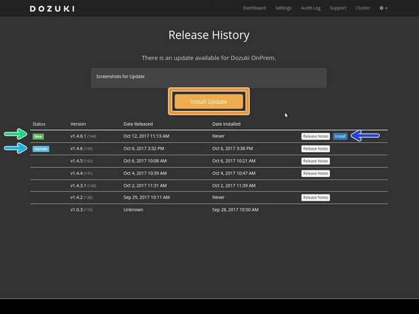 The Release History page displays all previous versions of the OnPrem platform as well as new version updates.