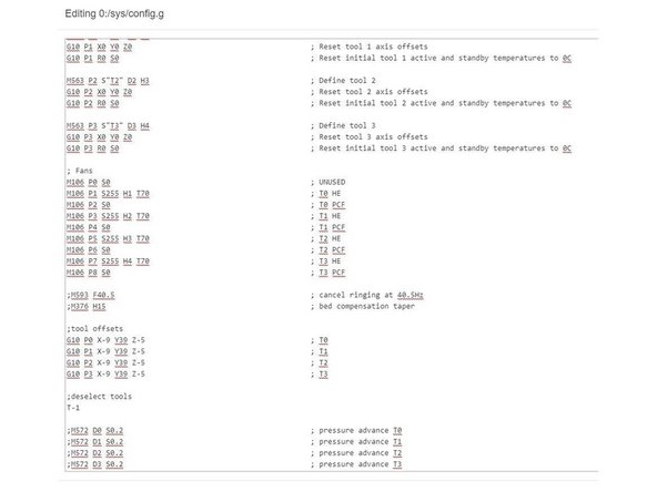 The config.g file has approximate numbers for the tool offsets, set by a G10 command towards the end of the file.