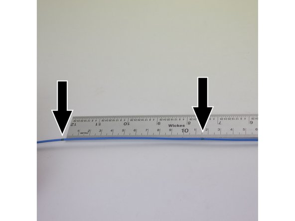 With a ruler or calipers, measure the distance between the two marks on your filament.