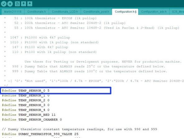Change TEMP_SENSOR_0 to type 5.