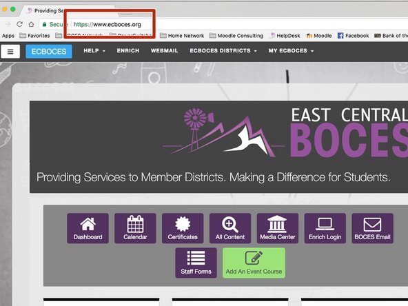 Find the Address Bar and type in www.ecboces.org