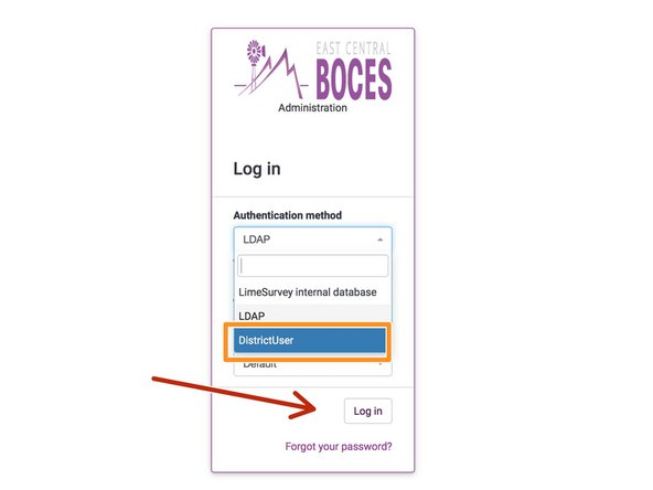 In the login box, click on the Dropdown box and select DistrictUser from the list.