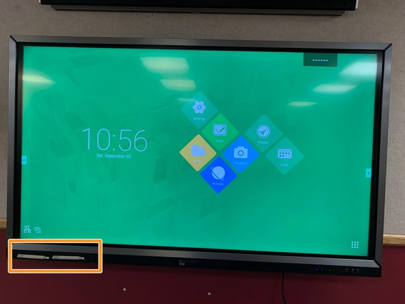 Our Smart Boards have been replaced with Mimio Boxlight Touch Screen Monitors.There should be two pens with the board which are magnetic and stick on the bottom left corner.
