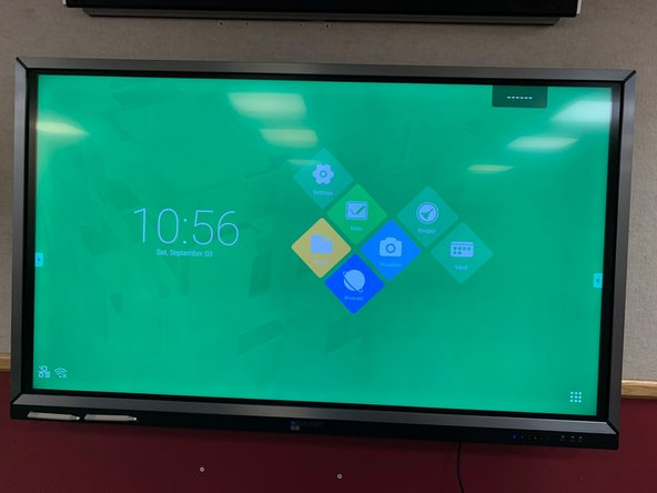 Make sure all the monitors are powered on.  In a full conference room, there should be two TV's and one large Touch Screen monitor.