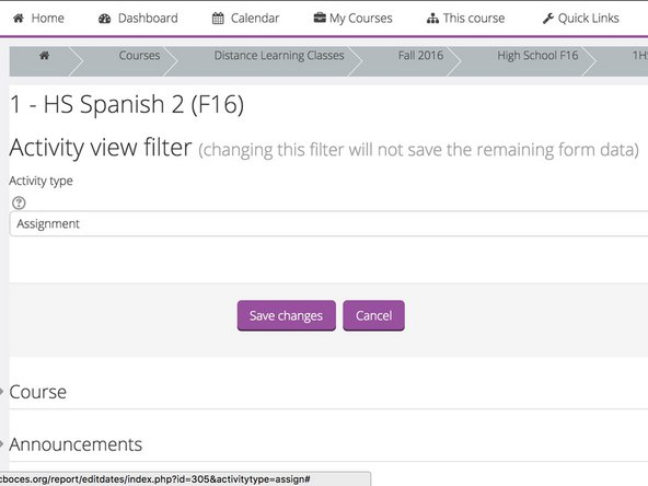The next page will show a filter option and a listing of your sections towards the bottom of the page.