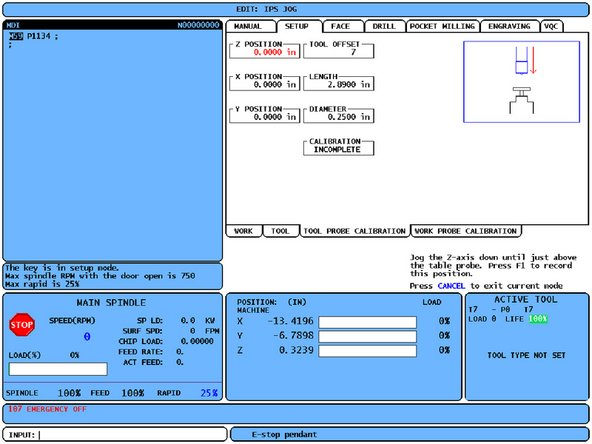 The WIPS Calibration Menus are explained in the Haas VMC Operator's Manual.