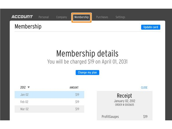 "Click on ""MEMBERSHIP"" The membership page will show a list of payments that have been made for the year that is selected."