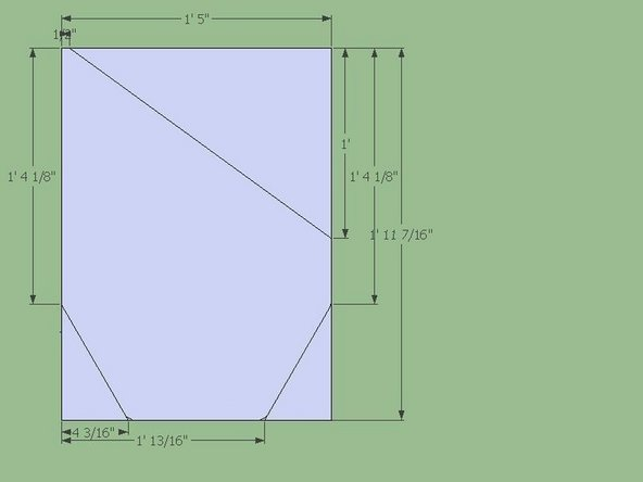 """Start with two plates cut according to the dimensions in the Fig.  The large piece in the center is called a """"Bucket Side Plate"""".  Two are required to complete the Bucket.  The two smaller triangles at the bottom were designed to be 30/60/90 triangles.  The 30/60/90 triangles should control/drive the linear dimensions."""