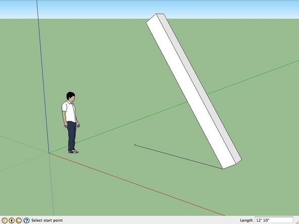 Begin by drawing a horizontal line across the ground plane.