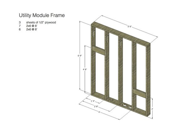 This image shows the frame and lists the materials counts to construct the frame, including the sheathing material.