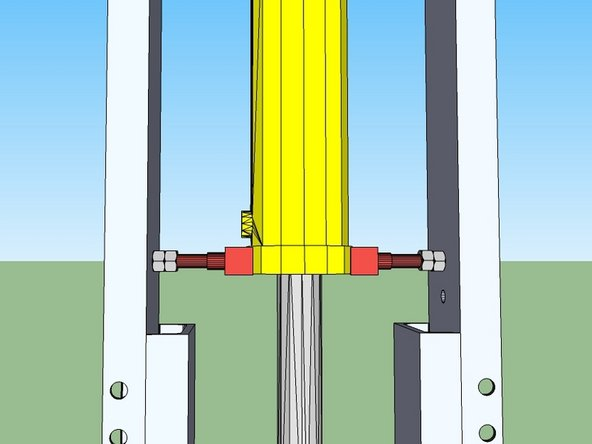 Install the thin cylinder supports by screwing the bolt in with an extra nut on it as shown, and placing the u-channel against the cylinder.