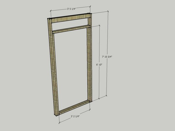 The image shows the lengths of the 2x4s you will need to make the door module.
