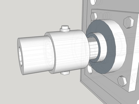 """Attach the coupler on the motor to the drive shaft with the 1/2"""" x 4""""bolt."""