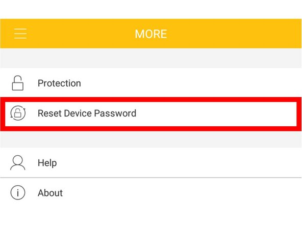 "Select ""Reset Device Password"""